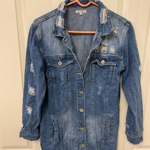 Distressed Long Jean Jacket